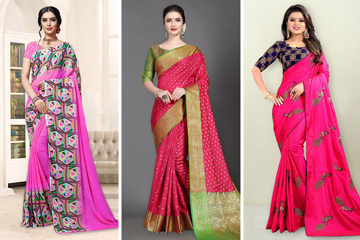 Pink Sarees – 30 Traditional Pink Colour Saree Designs