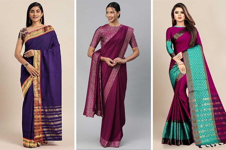 Purple Sarees – 25 Latest Collection of Trendy Purple Color Sarees