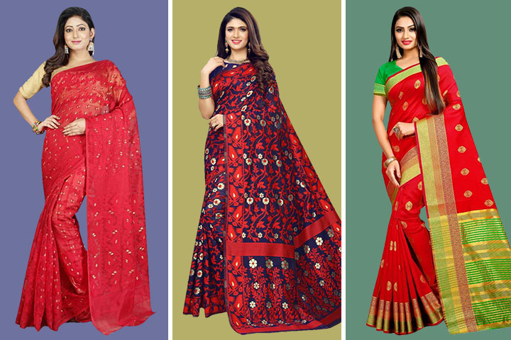 25 Traditional Red Colour Jamdani Sarees for Women