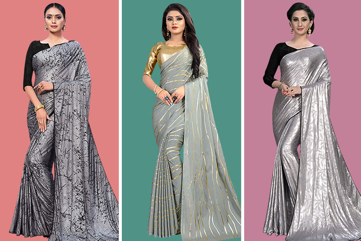 25 Stunning  Silver Color Sarees in Various Patterns & Fabrics