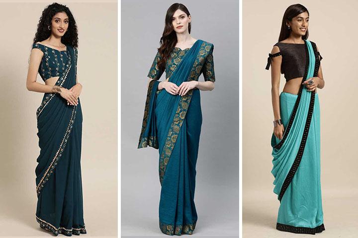 Teal Sarees – 25 Beautiful Teal Colour Sarees for Women