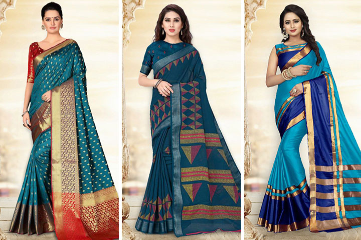 Turquoise Blue Sarees – 25 Charming Turquoise Blue Sarees for Women