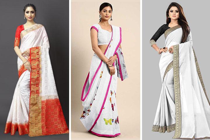 White Sarees – 30 Beautiful White Color Saree Designs for Women