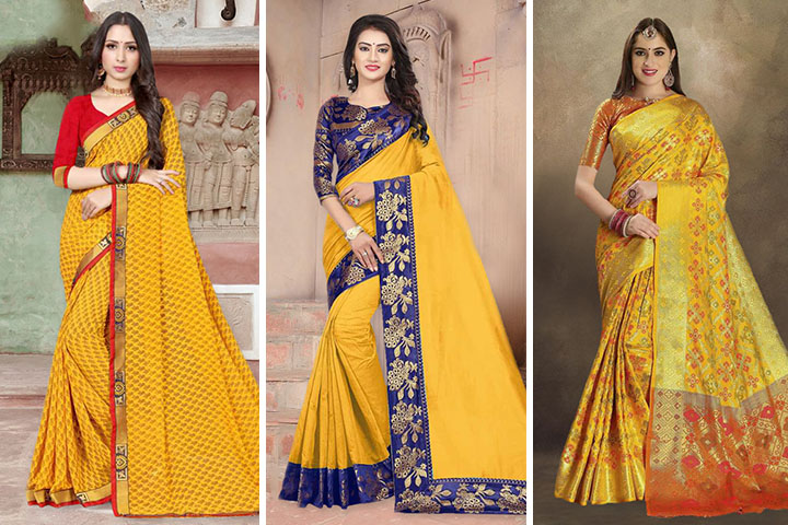 Yellow Sarees – 30 Latest Yellow Color Sarees for Women
