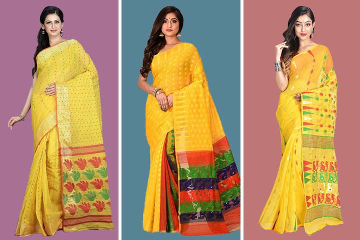 25 Traditional Yellow Colour Jamdani Sarees for Women